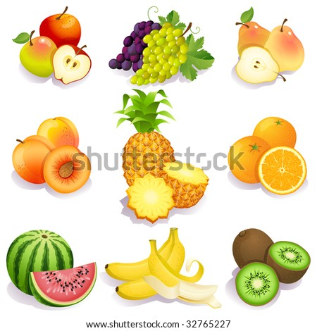 Vector illustration - set of fruits icons - stock vector