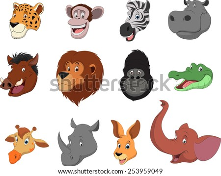 Vector illustration set of funny exotic animals - stock vector