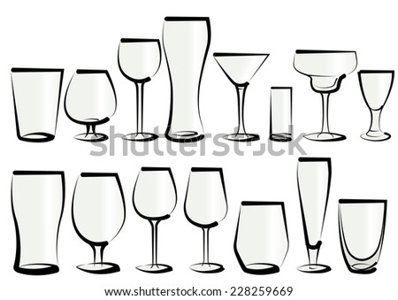 Vector illustration set of glasses, as you can find in a bar or a restaurant. Any kind, for any use, for water, soft drinks, alcohol and liquor - stock vector