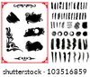 Vector Illustration. Set of grunge brush strokes - stock vector