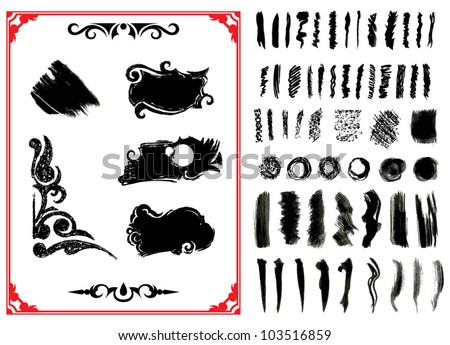Vector Illustration. Set of grunge brush strokes - stock vector