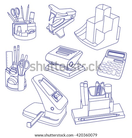 Vector illustration set of hand drawn doodles of business objects and office items. Isolated on white background - stock vector