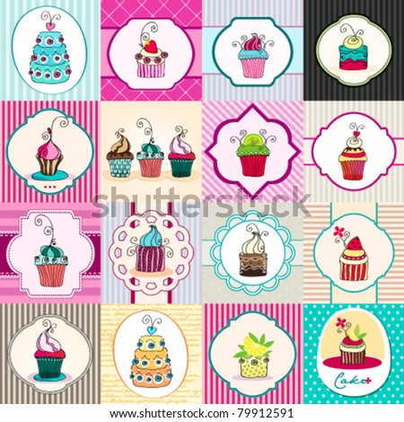 Vector illustration set of hand drawn romantic cute retro cupcakes backgrounds - stock vector