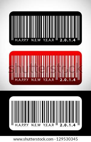 vector illustration set of 2014 Happy New Year greeting looks like a barcode - stock vector