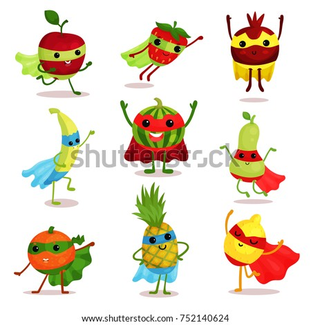 Vector Illustration Set Happy Superhero Fruit Stock Vector