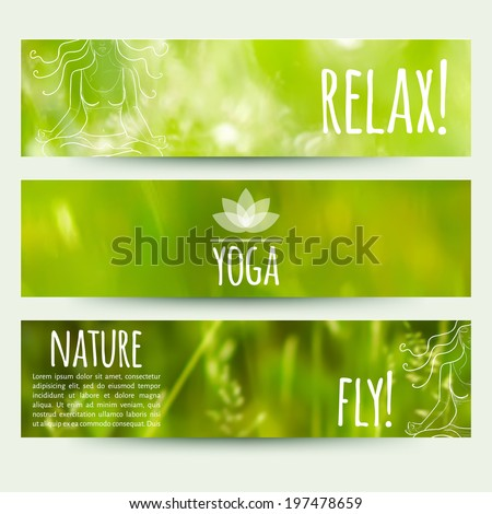 vector illustration. Set of horizontal banners with blurred grass background and and sketch a girl in lotus position - stock vector