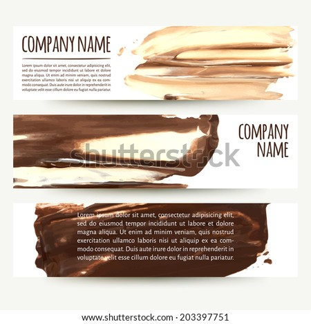 vector illustration. Set of horizontal banners with palette knife texture. cream and chocolate - stock vector