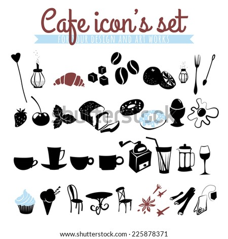 Vector illustration Set of icons: coffee beans, latte, cappuccino, pies, donuts,  croissants, cups, glasses and other cafe objects
