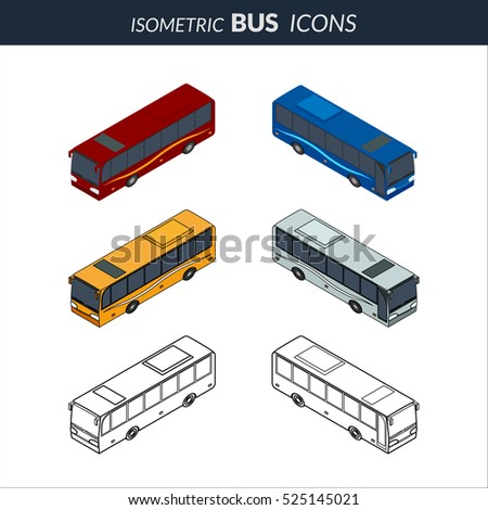 vector illustration. Set of icons of the bus. Color, contour, outline, with a door. Isometric, 3D.