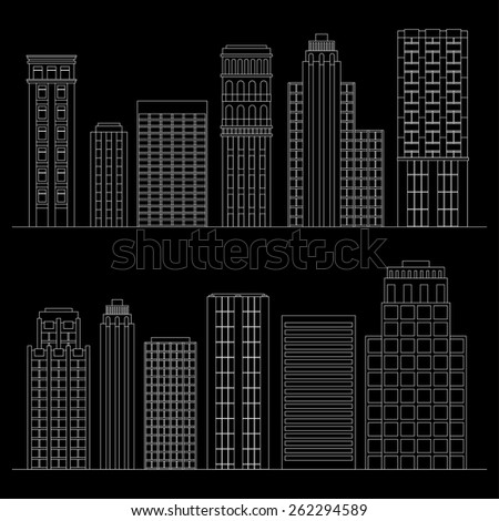 Vector illustration Set of line skyscrapers. Black and white - stock vector