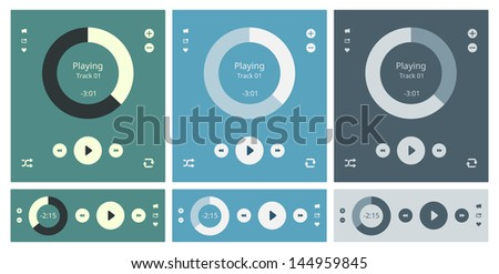 Vector illustration set of modern minimalistic media player user interface with panel control in modern flat design - stock vector