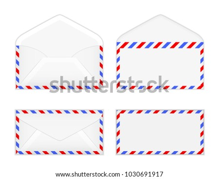 Vector Illustration Set Of Of Open And Closed Air Mail Envelope Template  From Front And Back