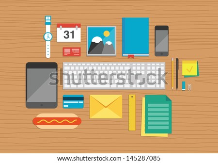 Vector illustration set of office and business work elements on a desk texture in flat design. Top view. - stock vector