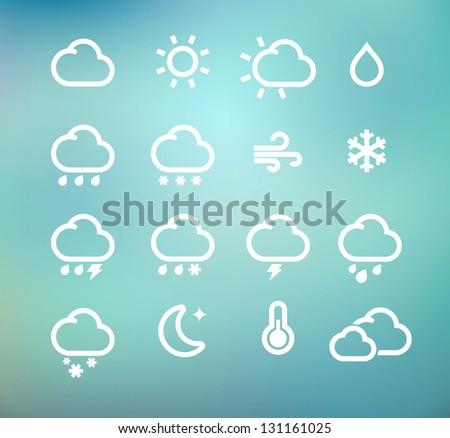 Vector illustration set of original retro weather icon - stock vector