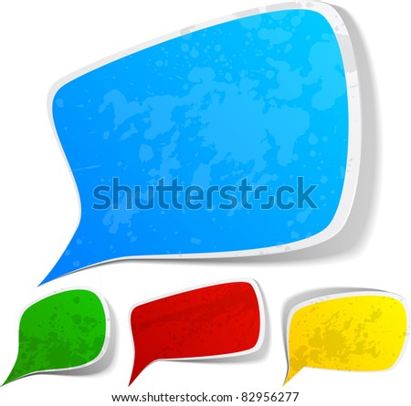 Vector illustration set of paper splash speech. - stock vector