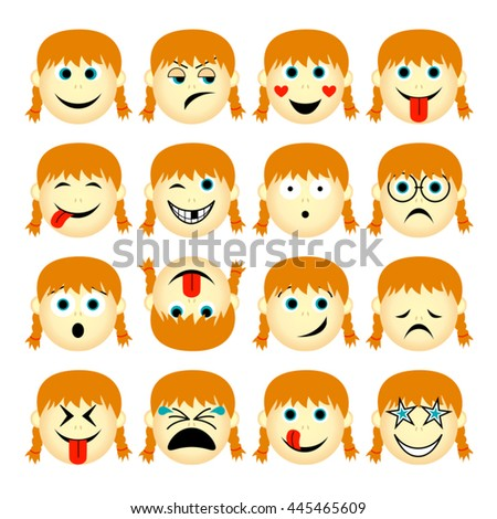vector illustration set of people emoticons isolated on white background - simple cartoon female faces showing different emotions
