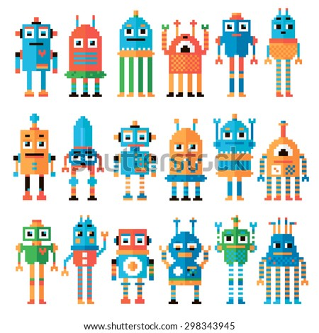 Vector illustration. Set of pixel robots isolated on white background.