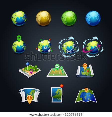 vector illustration set of planet earth icon with a pins and airplanes  travel set icon map web design. element - stock vector