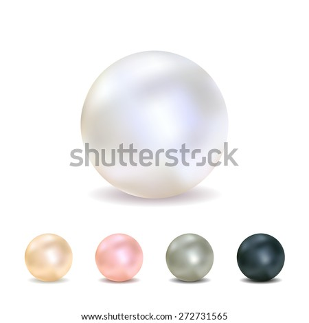 Vector illustration - set of realistic pearls (white, peach, pink, gray, black), isolated on a white background.