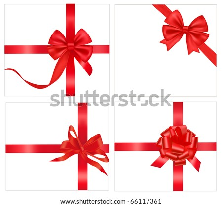 Vector illustration. Set of red bows with ribbons. - stock vector