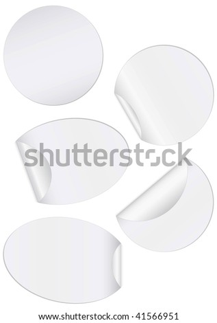 Vector illustration set of round unprinted stickers with peeled edges. All objects and details are isolated. Colors and white background color are easy to adjust/customize.