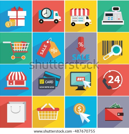 Vector illustration set of shopping icons items