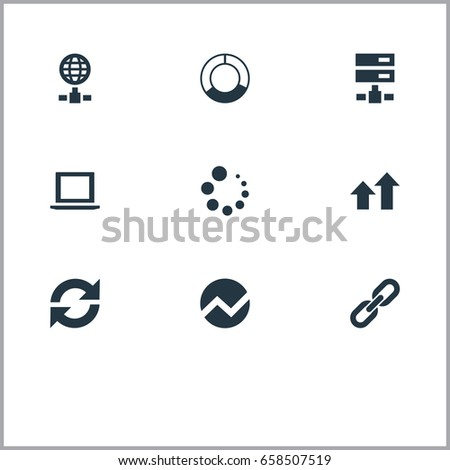 Vector Illustration Set Of Simple Analysis Icons. Elements Chain, Hosting, Increase And Other Synonyms Online, Chain And Arrows Up.