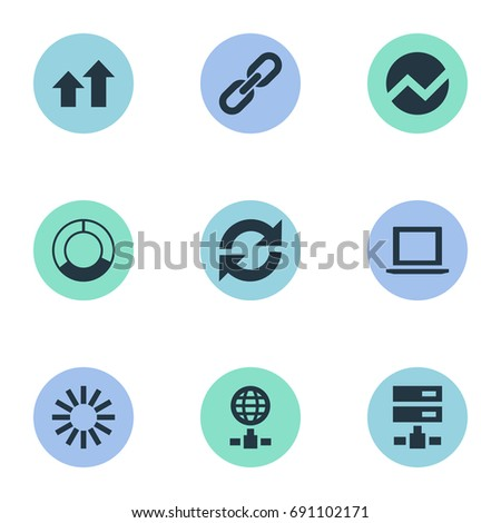 Vector Illustration Set Of Simple Business Icons. Elements Notebook, Internet Server, Refresh And Other Synonyms Hosting, Online And Growth.