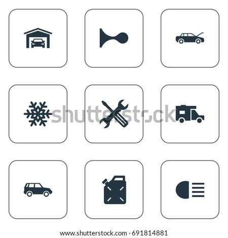 Vector Illustration Set Simple Car Icons Stock Vector 691814881