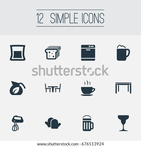 Vector Illustration Set Simple Cuisine Icons Stock Vector 676513924