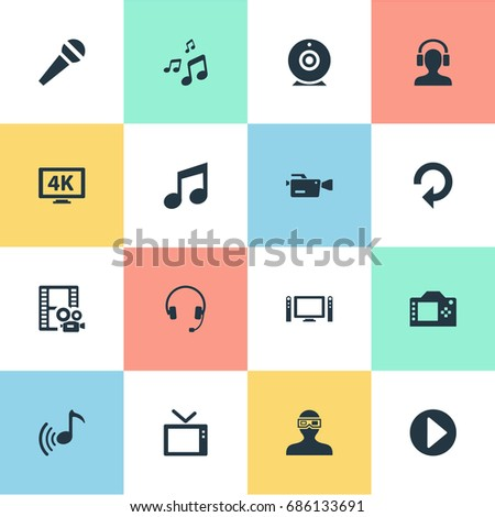 Vector Illustration Set Of Simple Multi Icons. Elements Television, Musical Note, Begin And Other Synonyms Camera, Music And Note.