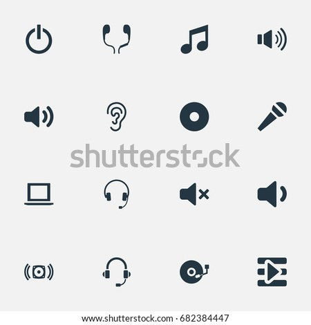 Vector Illustration Set Simple Music Icons Stock Photo Photo