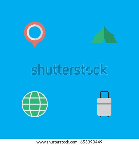 Vector Illustration Set Of Simple Relax Icons. Elements Mark World Baggage And Other  sc 1 st  Shutterstock & Vector Illustration Set Simple Holiday Icons Stock Vector ...