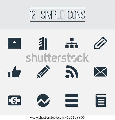 Vector Illustration Set Of Simple Teamwork Icons. Elements Letter, Information, Good And Other Synonyms Stationary, Signal And Directory.