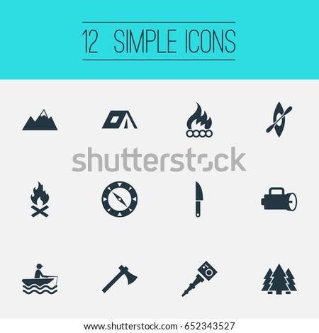 Vector Illustration Set Of Simple Tent Icons. Elements Lumberjack Adventure Navigation And Other  sc 1 st  Shutterstock & Vector Illustration Set Simple Tent Icons Stock Vector 652343527 ...