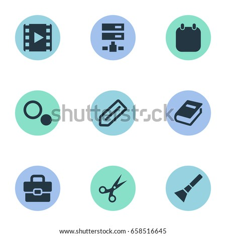 Vector Illustration Set Of Simple UI Icons. Elements Book Print, Hand Lantern, Settings Synonyms Blueprint, Tool And Trim.
