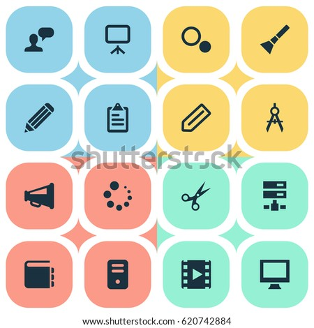 Vector illustration set simple web icons stock photo photo vector vector illustration set of simple web icons elements blueprint bullhorn system unit and malvernweather Gallery