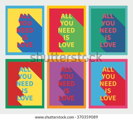 Vector illustration: set of six motivation posters with love slogan with diagonal shadow in flames made in bright colors and pop-art style