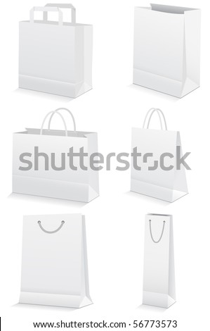 Vector illustration set of six paper shopping or grocery bags. All vector objects and details are isolated and grouped. Bag colors and transparent background are easy to adjust. - stock vector