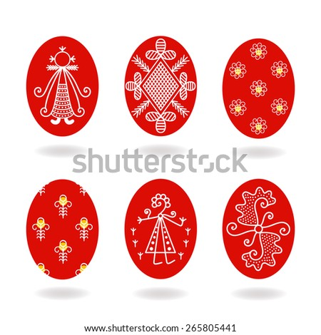 Vector illustration: set of six slavic pysanka - religious symbols - painted eggs - stock vector