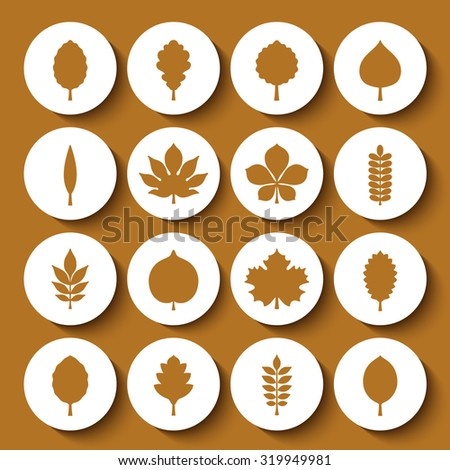 Vector illustration: set of sixteen circle white 3d badges with yellow silhouettes of different tree leaves isolated on mustard background - stock vector