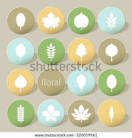 Vector illustration: set of sixteen stand upright circle varicolored 3d glossy badges with white silhouettes of different tree leaves with shadow isolated on creamy background - stock vector