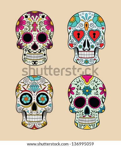 vector illustration set of skulls in mexican tradition - stock vector