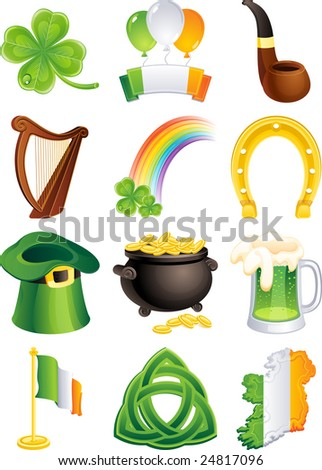 Vector illustration - set of  St. Patrick's icon - stock vector