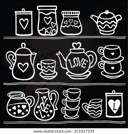 Vector illustration set of tea collection with a tea pot, tea cup, jars, jugs in vintage style stylized drawing with chalk on blackboard. Valentines day card. - stock vector