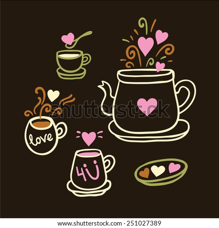 Vector illustration set of tea collection with a tea pot, tea cup, mugs in vintage style. Valentines day card. - stock vector