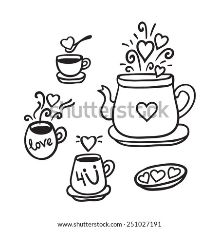 Vector illustration set of tea collection with a tea pot, tea cup, mugs in vintage style. Black and white.Decorated with hearts and love. Valentines day card. - stock vector