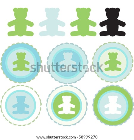 vector illustration set of teddy bear badges on a sheet