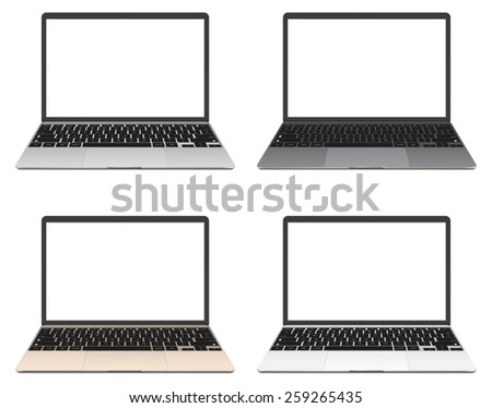 Vector illustration, Set of thin Laptop with blank screen isolated on white background, in silver, grey, gold and white color of aluminium body. - stock vector