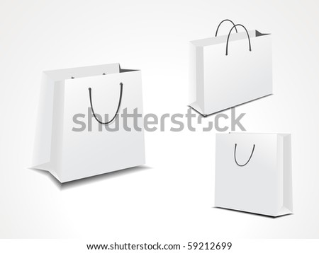 vector illustration set of three paper shopping bags.